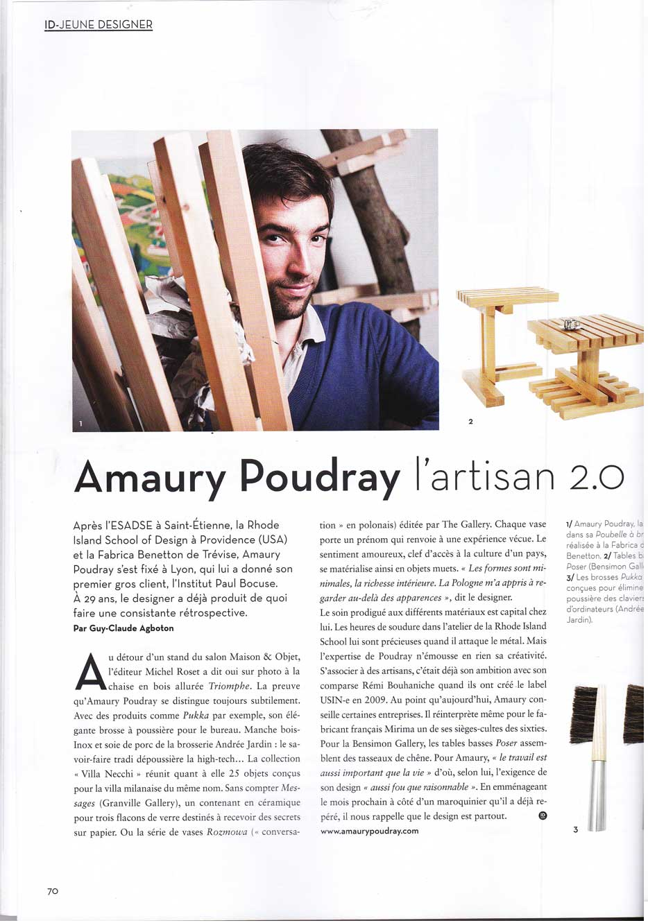 Article about Amaury Poudray craftsman designer