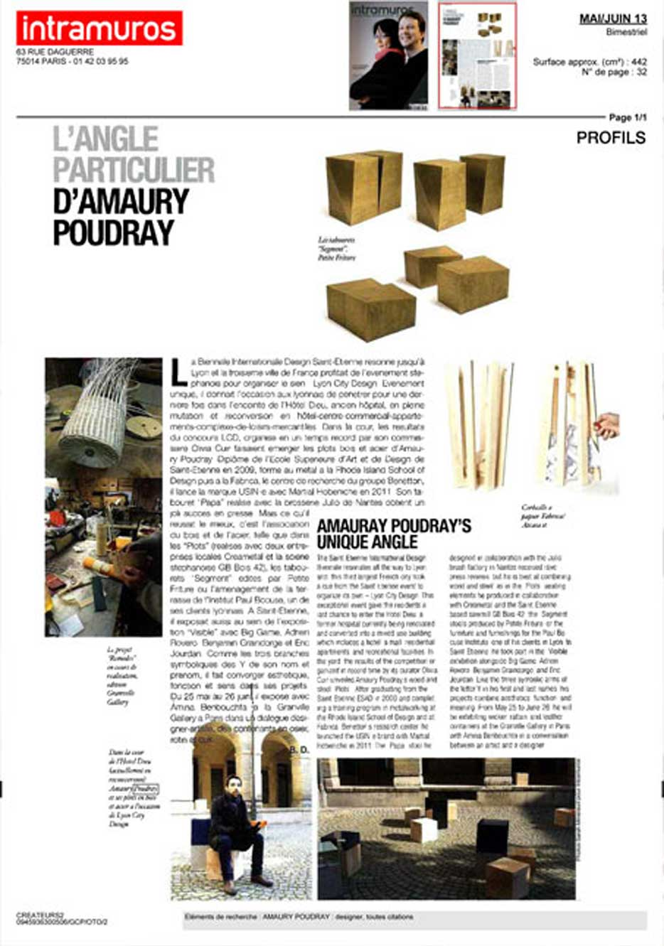 Article Amaury Poudray designer